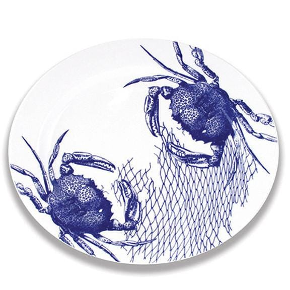 Blue Crab & Net Oval Rimmed Platter 16