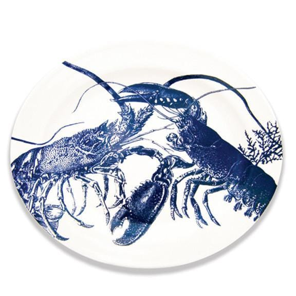 Blue Lobster Oval Rimmed Platter 16
