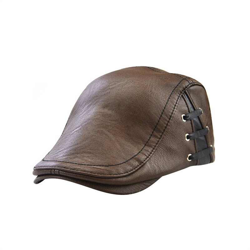 Men's Flat Cap Vintage PU Leather Newsboy Cap Flat Golf Driving Hunting Hat