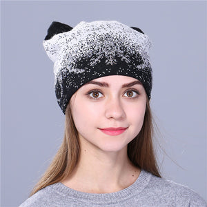 Xthree cute kitty winter hat for women Rabbit fur wool knitted hat beanies hat feminino hat for girl