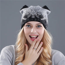 Load image into Gallery viewer, Xthree cute kitty winter hat for women Rabbit fur wool knitted hat beanies hat feminino hat for girl