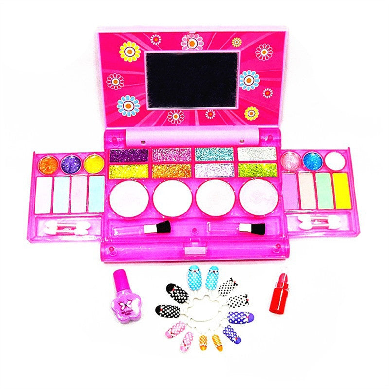 Makeup Play Set Princess Girls All-In-One Deluxe Cosmetic and Real Makeup Palette with Mirror (Washable)