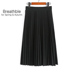 Load image into Gallery viewer, High Waist Pleated Solid Color Elastic Skirt