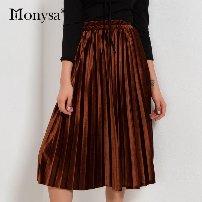 2018 Autumn Winter Fashion Streetwear Midi Skirt Ladies Elastic Hight Waist Casual Skirt Black Green