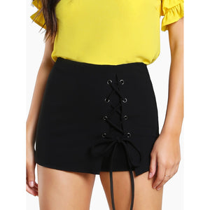 Grommet Lace Up Skort - VINT