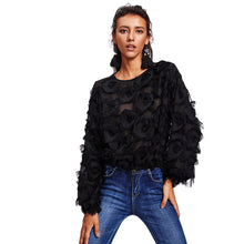 SHEIN Fringe Patch Mesh Top Sexy Autumn Womens Tops and Blouses Black Long Sleeve Round Neck Elegant Womens Tops - VINT