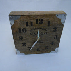 16CM SQUARE WOODEN BLOCK CLOCK