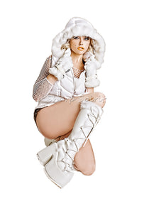 "5"" Platform White Cyber Furry Womens Boots"