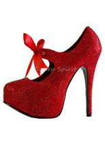 Load image into Gallery viewer, Red Rhinestone Mary Jane Shoes