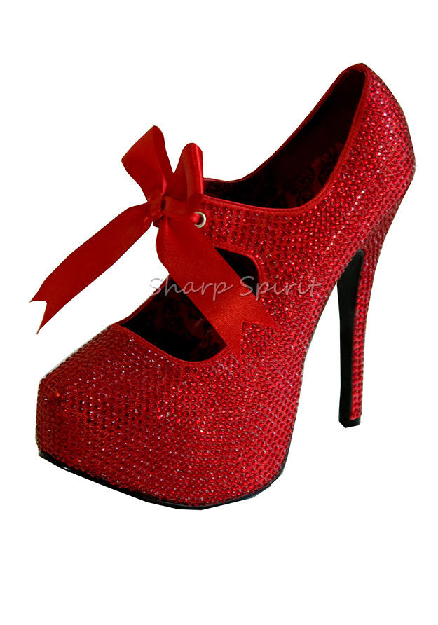Red Rhinestone Mary Jane Shoes