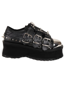 Right to Your Grave Chrome Toe Platforms