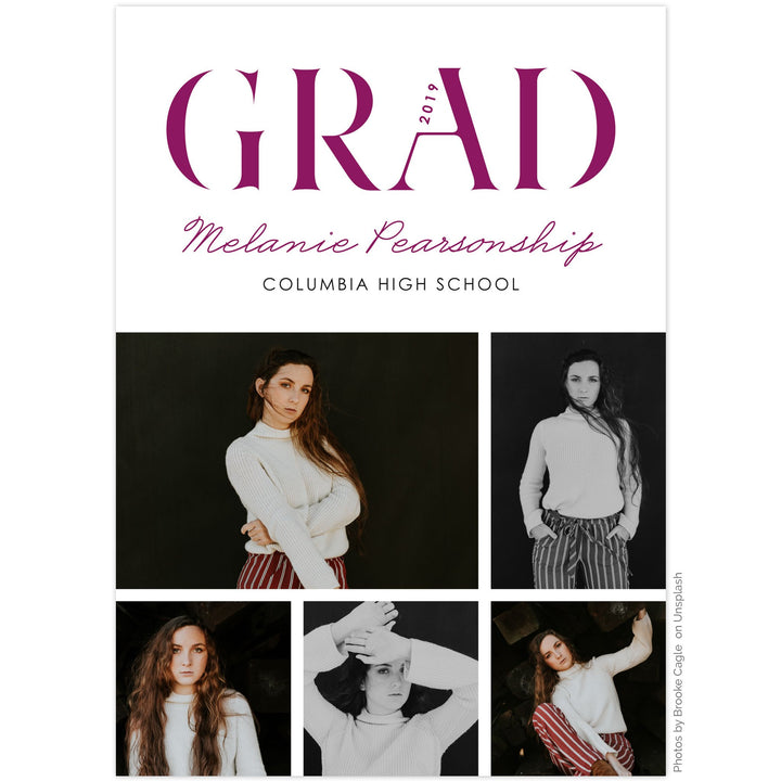 Graduation announcement by The Alice Files featuring multi-photo layout.