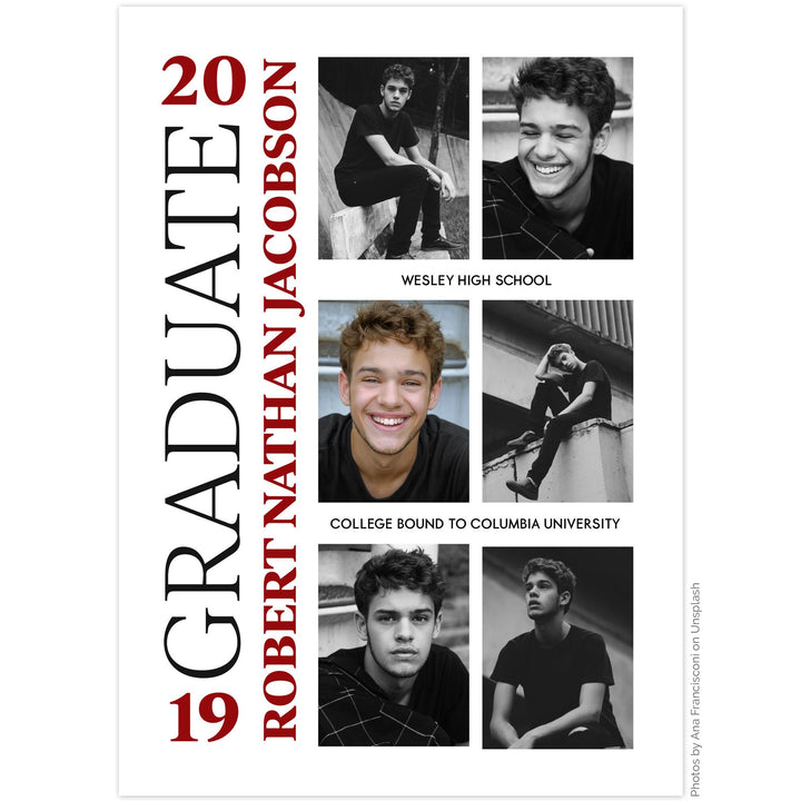 Yearbook inspired graduation announcement by The Alice Files featuring multi-photo layout.