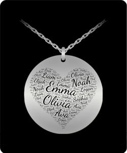 Laser Engraved Multi-name Heart Shape Round Pendant - Stainless Steel