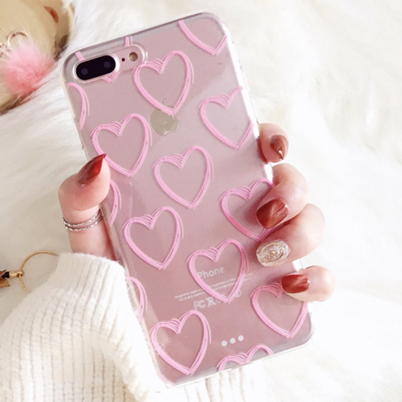 Pink Love Transparent IPhone Case - Modern Charme.