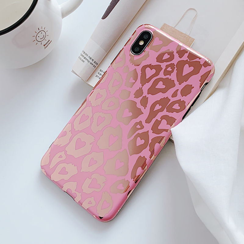 Pink Leopard Glossy IPhone Case - Modern Charme.