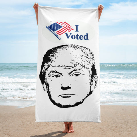 I Voted For Trump Funny Political Voting Sticker Parody Trump Face Beach Towel
