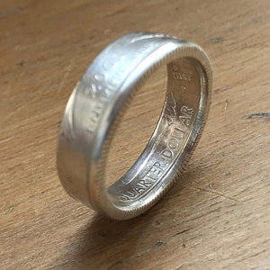 State Quarter Coin Ring - Made to Order - Choose your State - Silver Plated Coin Ring - Shwen Design Uk