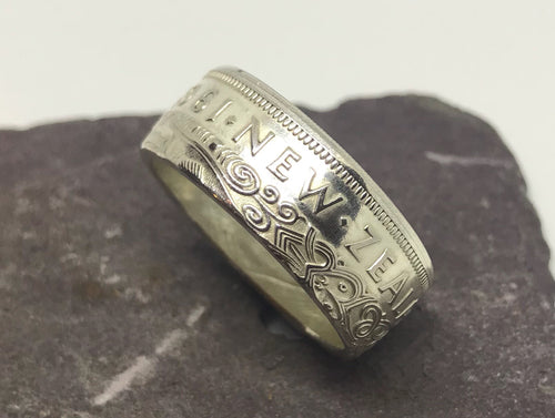 New Zealand Half Crown Coin Ring - Made to Order - Shwen Design Uk