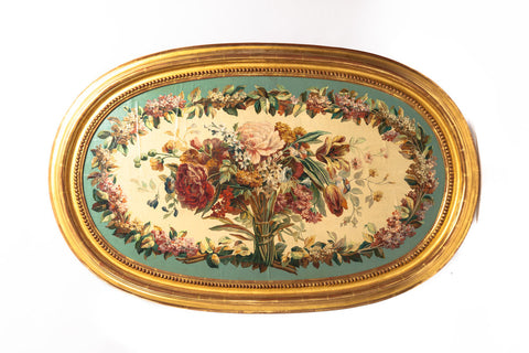 19th Century French Aubusson Floral Tapestry Cartoon in a Gilded Frame