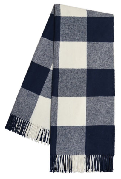 Navy Buffalo Check Pattern Itallian Throw Blanket