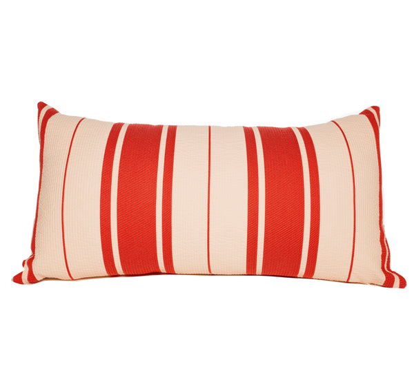 Red and White Stripe Lumbar Throw Pillows