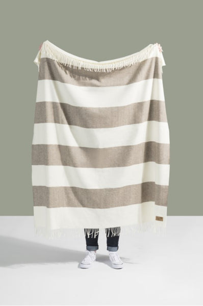 Barnwood Rugby Stripe Pattern Itallian Throw Blanket