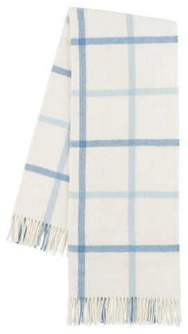 Blue Denim and Baby Blue Tattersall Plaid Itallian Throw Blanket