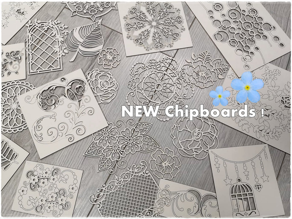 NEW !!! Set of 5 random chipboards for mixed media and cardmaking