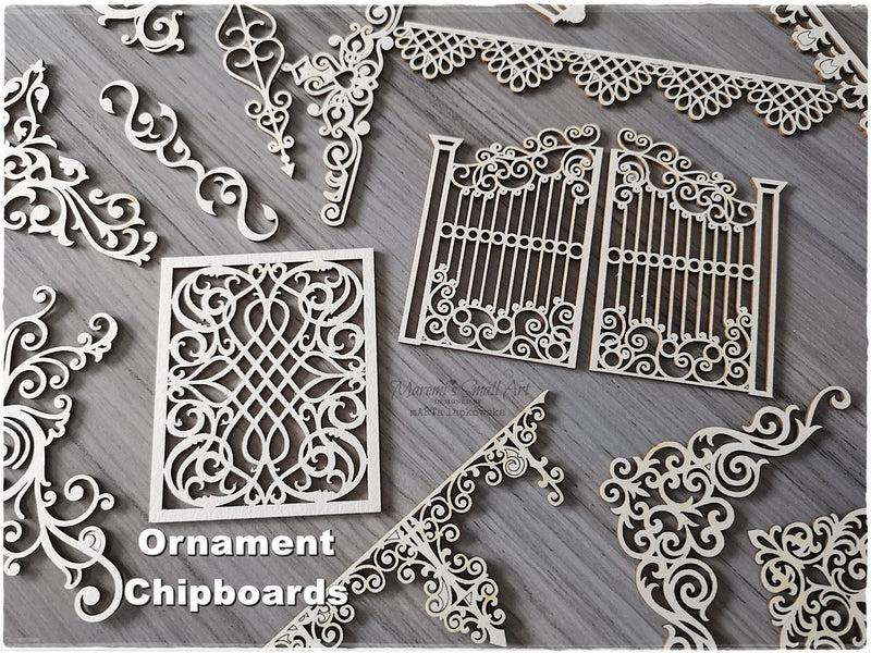5 Pieces of beautiful random Ornament Chipboard Set