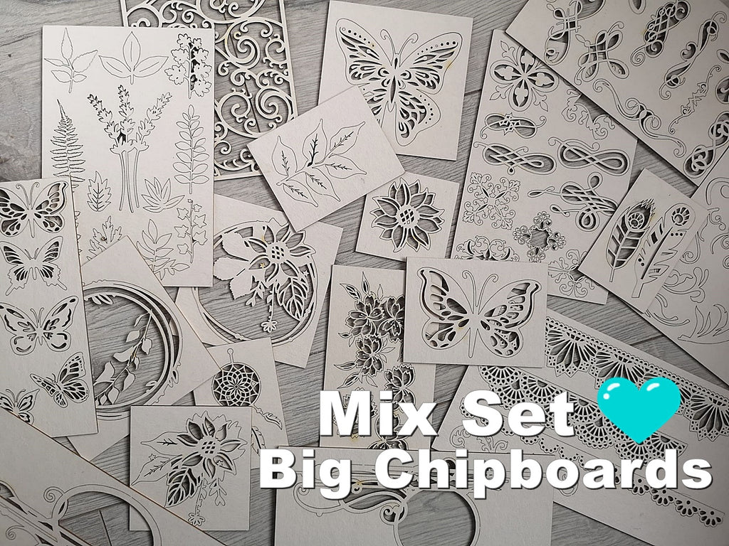 Set of 4 Big Random chipboards for mixed media and cardmaking
