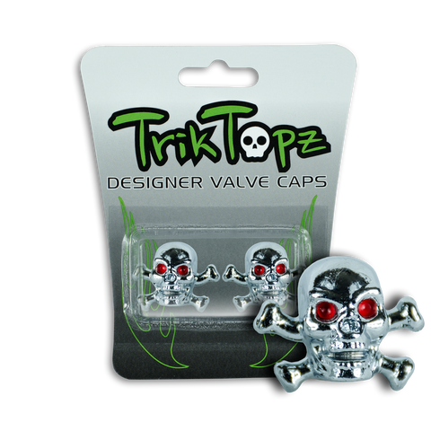 Skull & Bones Valve Cap Chrome (2 Pack)