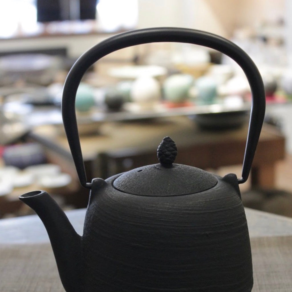 "Cast Iron Tea Pot ""Pine Cone"" Black by Iwachu"
