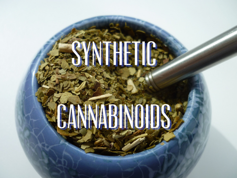 Ground up plant material with text over-laid: synthetic cannabinoids