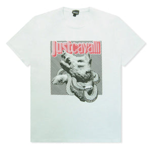 White Just Cavalli Boar And Snake Logo T-Shirt