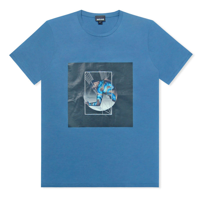 Blue Just Cavalli Man And Snake Logo T-Shirt