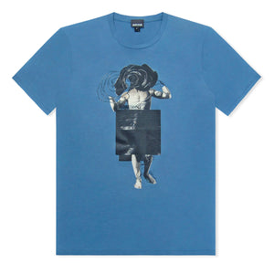 Blue Just Cavalli Man And Rose Print T-Shirt