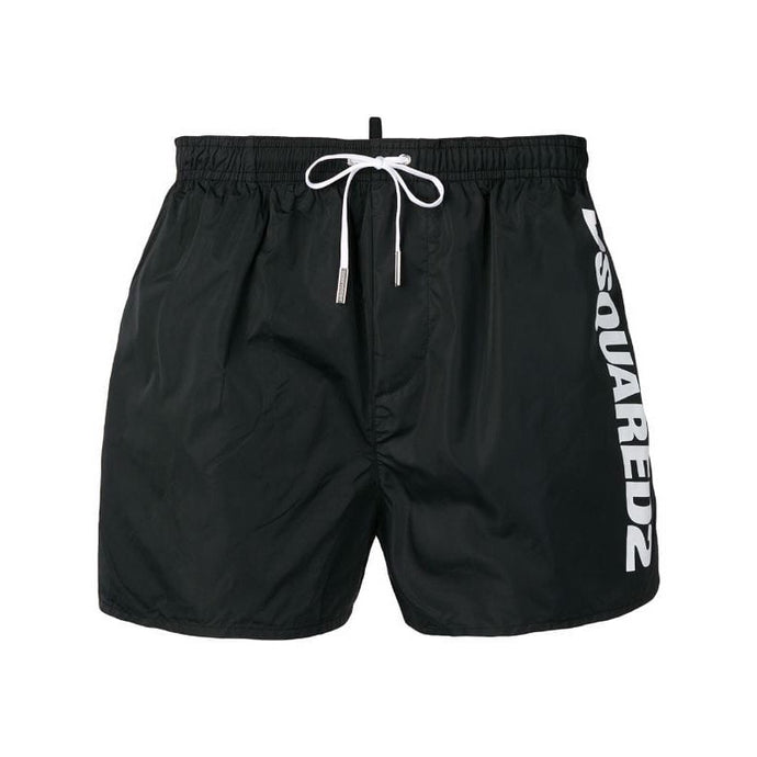 Black/White Dsquared Large Logo Swim Shorts