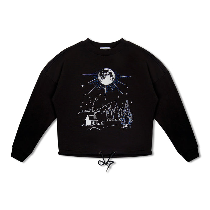 WMN Black Untitled Atelier Night Sky Draw String Sweatshirt