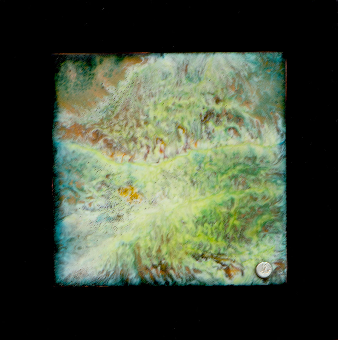 Garden 2.0  4 x 4 enamel  mounted on a 6x6 pvc board