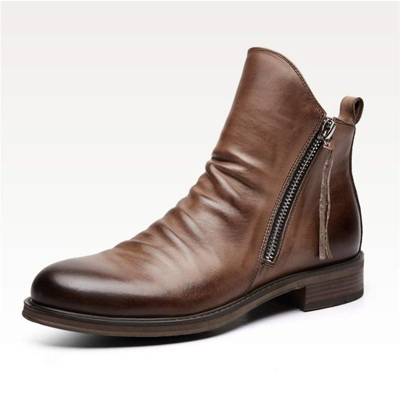 Men Casual Zipper Leather Boots
