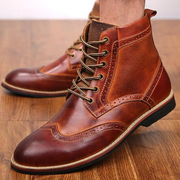 Men Vintage Leather Carved Casual Martin Boots