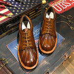 Men Vintage Leather Round Toe Casual Shoes