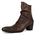 Men's Zipper-up Leather Chukka Boots