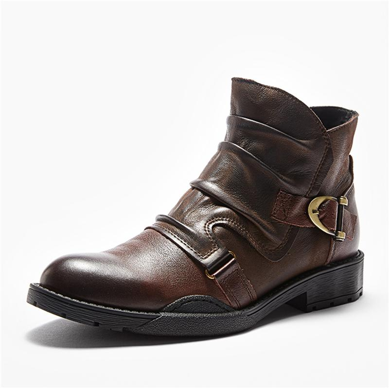 Men Buckle Leather Boots