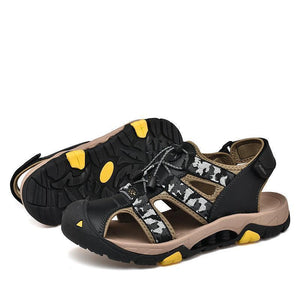 Large Size Men Genuine Leather Hook Loop Anti-collision Outdoor Sandals