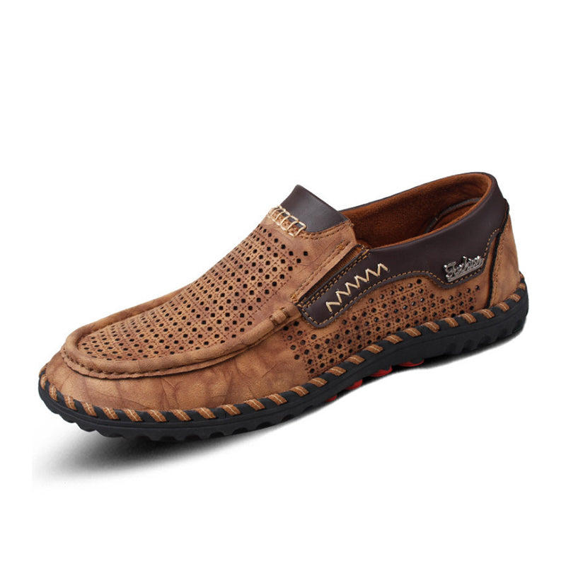 Men Hollow Breathable Genuine Leather Casual Shoes