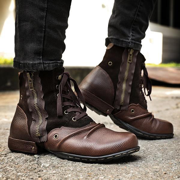 Men Fashion Zipper Leather Boots
