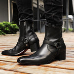 Men Zipper-up Leather Chukka Boots