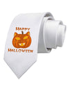 Cat-O-Lantern With Text Printed White Necktie